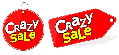 Crazy Sale tag design template, discount banner, vector illustration
