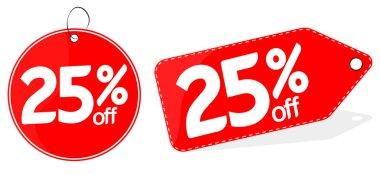 Sale 25% off tag, discount banner design template, vector illustration