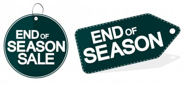 End of season, sale tag design template, discount banner, vector illustration