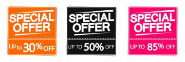Special Offer, sale up to 85% off, banners design template, discount tags, vector illustration