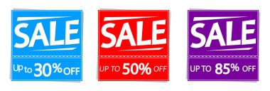 Sale up to 85% off, banners design template, discount tags, vector illustration