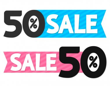 Sale 50% off, discount banner design template, offer tag, vector illustration