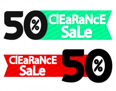Clearance Sale, 50% off, discount banner design template, offer tag, vector illustration