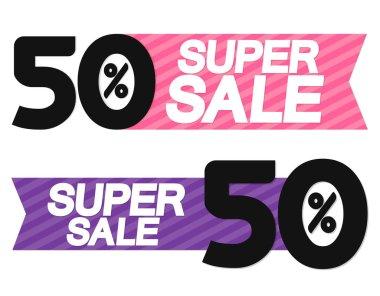 Super Sale, 50% off, discount banner design template, offer tag, vector illustration