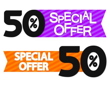 Special Offer, 50% off, sale banner design template, discount tag, vector illustration