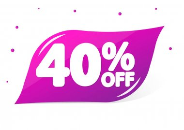 Sale 40% off, banner design template, discount tag, app icon, lowest price, vector illustration