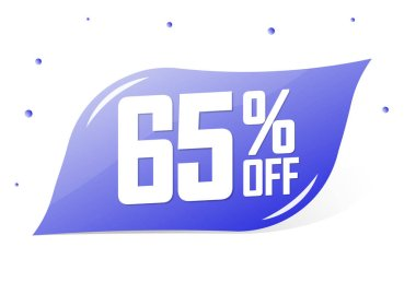 Sale 65% off, banner design template, discount tag, app icon, lowest price, vector illustration