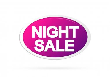Night Sale, banner design template, discount tag, promotion app icon, vector illustration