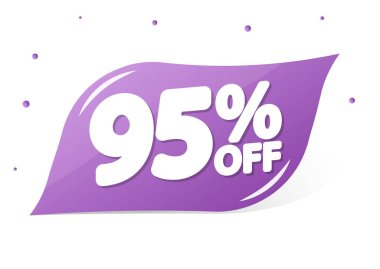 Sale 95% off, banner design template, discount tag, app icon, lowest price, vector illustration