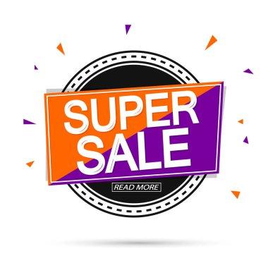 Super Sale, banner design template, discount tag, promotion app icon, vector illustration