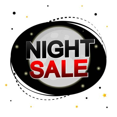 Night Sale, promotion banner design template, discount tag, vector illustration