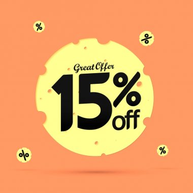 Sale 15% off, discount banner design template, promo tag, great offer, vector illustration