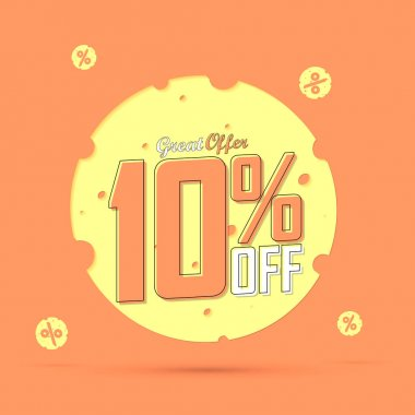Sale 10% off, discount banner design template, promo tag, great offer, vector illustration