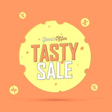 Tasty Sale, promotion banner design template, discount tag, vector illustration