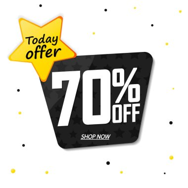 Sale 70% off, today offer, banner design template, discount tag, app icon, vector illustration