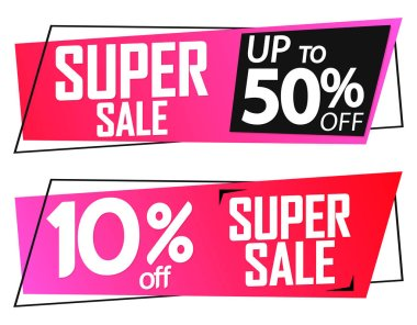 Super Sale 10% and up to 50% off, banners design template, discount tags, limited time only, vector illustration