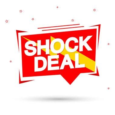 Shock Deal, sale tag design template, discount speech bubble banner, app icon, vector illustration