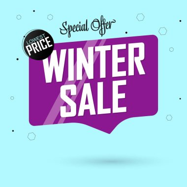 Winter Sale, tag design template, discount speech bubble banner, lowest price, vector illustration