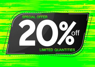Sale 20% off, discount banner design template, promo tag, special offer, vector illustration