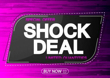 Shock Deal, sale banner design template, special offer, discount tag, promotion app icon, vector illustration