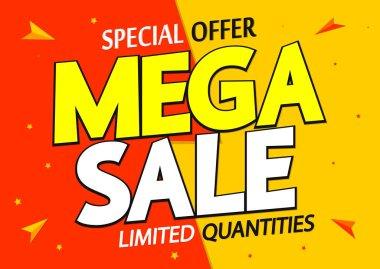 Mega Sale, discount poster design template, special offer, vector illustration
