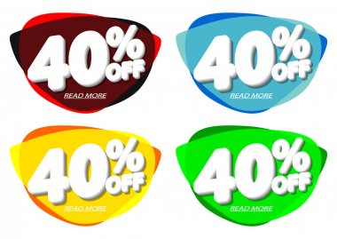 Sale 40% off, bubble banners design template, discount tags, vector illustration