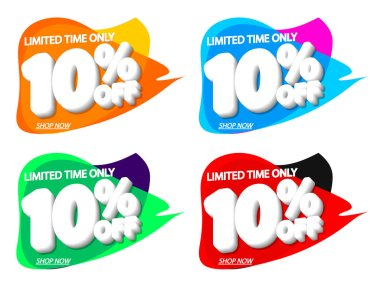 Sale 10% off, bubble banners design template, discount tags, vector illustration