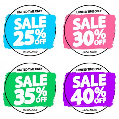 Set Sale tags, discount banners design template, app icons, brush grunge, vector illustration