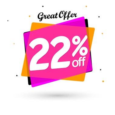 Sale 22% off, bubble banner design template, discount tag, vector illustration