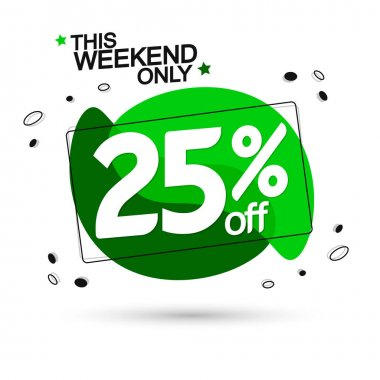 Sale 25% off, bubble banner design template, discount tag, vector illustration