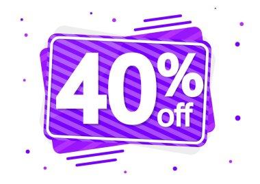 Sale 40% off, discount banner design template, promo tag, vector illustration