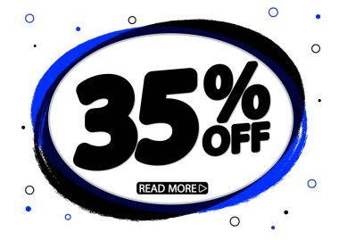 Sale 35% off, discount banner design template, promo tag, vector illustration