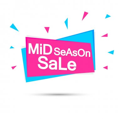 Mid Season Sale, banner design template, discount tag, promotion app icon, vector illustration