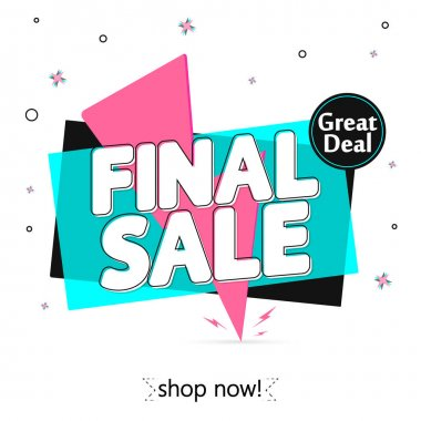 Final Sale, banner design template, discount tag, promotion app icon, vector illustration