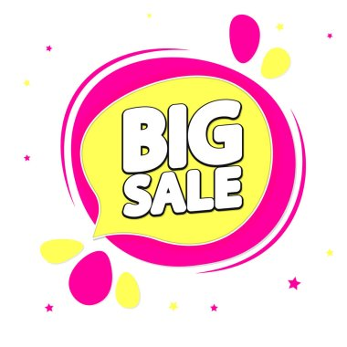 Big Sale, tag design template, discount speech bubble banner, app icon, vector illustration