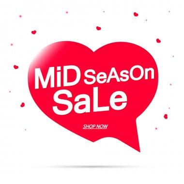 Mid Season Sale, tag design template, discount speech bubble banner, app icon, vector illustration