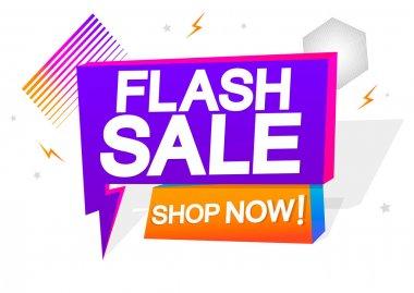 Flash Sale, tag design template, discount speech bubble banner, app icon, vector illustration