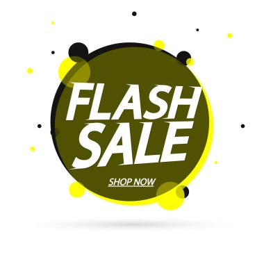 Flash Sale, promotion banner design template, discount tag, vector illustration