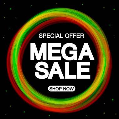 Mega Sale, promotion banner design template, discount tag, special offer, vector illustration