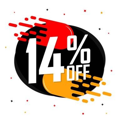 Sale 14% off, discount banner design template, promo tag, vector illustration