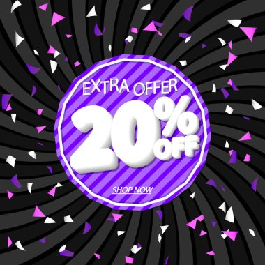 Sale 20% off, discount banner design template, promo tag, extra offer, vector illustration