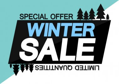 Winter Sale, banner design template, discount tag, special offer, app icon, vector illustration