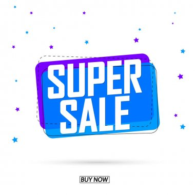 Super Sale, bubble banner design template, discount tag, app icon, vector illustration