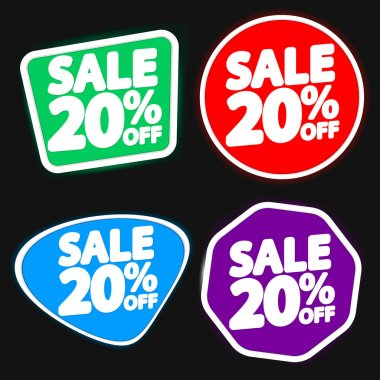 Set Sale 20% off, discount banners design template, extra promo tags, vector illustration