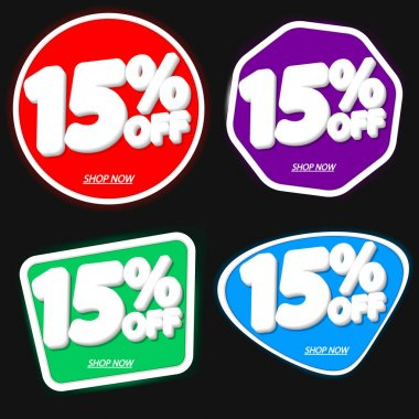 Set Sale 15% off, discount banners design template, extra promo tags, vector illustration
