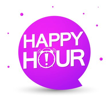 Happy Hour, speech bubble, banner design template, sale tag, vector illustration