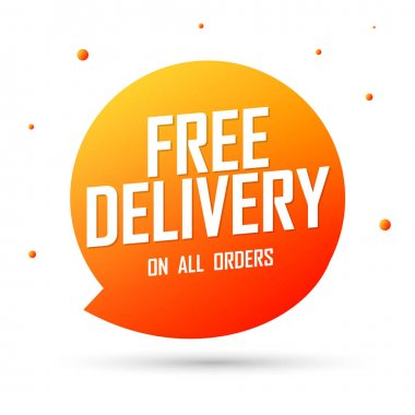 Free Delivery, speech bubble banner design template, sale tag, vector illustration