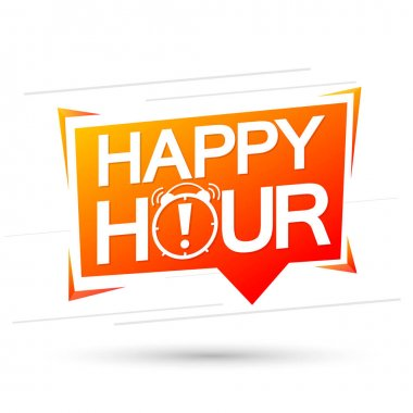 Happy Hour, speech bubble, banner design template, sale tag, vector illustration