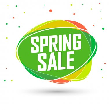 Spring Sale, bubble banner design template, discount tag, app icon, vector illustration