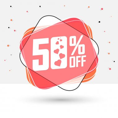 Valentines Day Sale 50% off, bubble banner design template, discount tag, app icon, vector illustration
